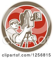 Clipart Of A Retro Cameraman Filming In A Brown White And Red Circle Royalty Free Vector Illustration