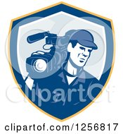 Clipart Of A Retro Cameraman Filming In A Yellow Blue And White Shield Royalty Free Vector Illustration by patrimonio