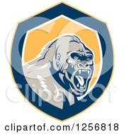 Clipart Of A Retro Angry Gorilla Screaming In A Yellow White And Blue Shield Royalty Free Vector Illustration