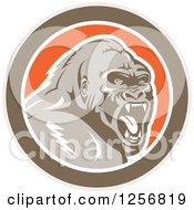 Clipart Of A Retro Angry Gorilla Screaming In A Brown White And Orange Circle Royalty Free Vector Illustration