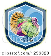 Clipart Of A Colorful Turkey Bird In A Green Blue And White Shield Royalty Free Vector Illustration
