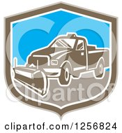 Clipart Of A Retro Snow Plow Truck In A Brown White And Blue Shield Royalty Free Vector Illustration by patrimonio