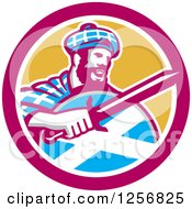 Clipart Of A Retro Scottish Highlander In A Tartan With A Sword And Shield In A Pink And Yellow Circle Royalty Free Vector Illustration