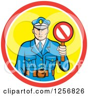 Clipart Of A Cartoon Police Man Holding A Stop Sign In A Red White And Yellow Circle Royalty Free Vector Illustration by patrimonio