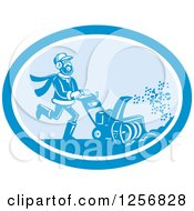 Happy Man Operating A Snow Blower In A Blue Oval