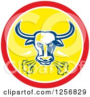 Clipart Of A Retro Longhorn Steer Bull Snorting In A Red And Yellow Circle Royalty Free Vector Illustration