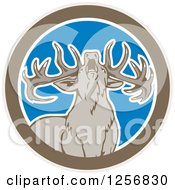 Clipart Of A Howling Buck Deer In A Brown White And Blue Circle Royalty Free Vector Illustration