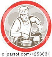 Clipart Of A Retro Male Chef Carving Meat In A Red White And Tan Circle Royalty Free Vector Illustration