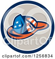 Clipart Of A Retro American Flag Patterned Fireman Hat In A Blue White And Tan Circle Royalty Free Vector Illustration
