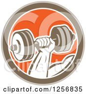 Clipart Of A Retro Bodybuilders Hand Lifting A Dumbbell In A Brown White And Orange Circle Royalty Free Vector Illustration by patrimonio