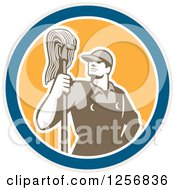 Retro Male Janitor With A Mop In A Blue White And Yellow Circle