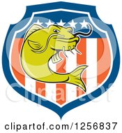 Clipart Of A Cartoon Angry Green Catfish Over An American Flag Shield Royalty Free Vector Illustration by patrimonio