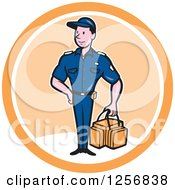 Clipart Of A Happy Paramedic Man With A First Aid Kit In A White And Orange Circle Royalty Free Vector Illustration