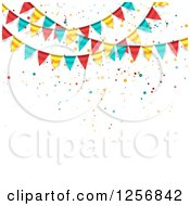 Clipart Of A Party Background With Colorful Bunting Flags On White Text Space Royalty Free Vector Illustration by vectorace