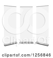 Clipart Of 3d White Roll Up Panels Royalty Free Vector Illustration