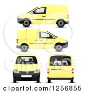 Yellow Mini Van In Different Positions