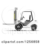 Clipart Of A 3d White Forklift Machine Royalty Free Vector Illustration by vectorace