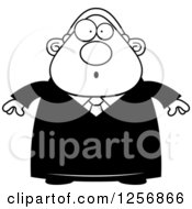 Clipart Of A Black And White Surprised Chubby Male Judge Royalty Free Vector Illustration by Cory Thoman