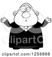 Clipart Of A Black And White Careless Shrugging Chubby Male Judge Royalty Free Vector Illustration by Cory Thoman