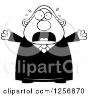 Clipart Of A Black And White Scared Screaming Chubby Male Judge Royalty Free Vector Illustration by Cory Thoman