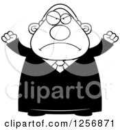 Clipart Of A Black And White Mad Chubby Male Judge Waving His Fists Royalty Free Vector Illustration by Cory Thoman