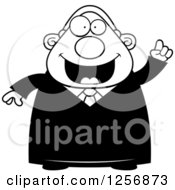 Clipart Of A Black And White Chubby Male Judge With An Idea Royalty Free Vector Illustration by Cory Thoman