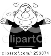 Clipart Of A Black And White Loving Chubby Male Judge Wanting A Hug Royalty Free Vector Illustration by Cory Thoman