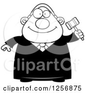 Clipart Of A Black And White Happy Chubby Male Judge Holding A Gavel Royalty Free Vector Illustration by Cory Thoman