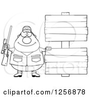 Clipart Of A Black And White Chubby Male Hunter With Wood Signs Royalty Free Vector Illustration by Cory Thoman