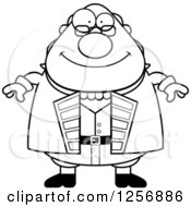 Clipart Of A Black And White Chubby Benjamin Franklin Royalty Free Vector Illustration by Cory Thoman