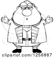 Clipart Of A Black And White Careless Shrugging Chubby Benjamin Franklin Royalty Free Vector Illustration by Cory Thoman