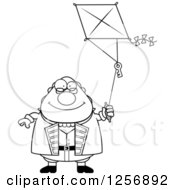 Clipart Of A Black And White Chubby Benjamin Franklin Flying A Kite Royalty Free Vector Illustration by Cory Thoman