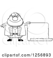 Clipart Of A Black And White Chubby Benjamin Franklin With A Scroll Royalty Free Vector Illustration by Cory Thoman