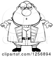 Clipart Of A Black And White Surprised Chubby Benjamin Franklin Royalty Free Vector Illustration by Cory Thoman