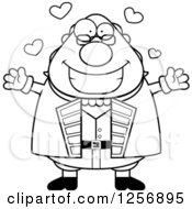 Clipart Of A Black And White Chubby Benjamin Franklin With Open Arms And Hearts Royalty Free Vector Illustration by Cory Thoman