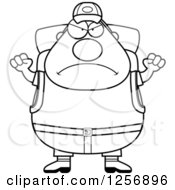 Clipart Of A Black And White Mad Chubby Hiker Man With Camping Gear Waving His Fists Royalty Free Vector Illustration