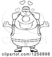 Clipart Of A Black And White Loving Chubby Hiker Man With Camping Gear Royalty Free Vector Illustration
