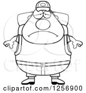 Clipart Of A Black And White Sad Depressed Chubby Hiker Man With Camping Gear Royalty Free Vector Illustration