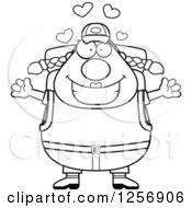 Clipart Of A Black And White Loving Chubby Hiker Woman With Camping Gear Royalty Free Vector Illustration
