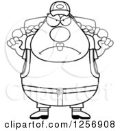 Clipart Of A Black And White Mad Chubby Hiker Woman With Camping Gear And Waving Her Fists Royalty Free Vector Illustration