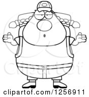 Clipart Of A Black And White Careless Shrugging Chubby Hiker Woman With Camping Gear Royalty Free Vector Illustration