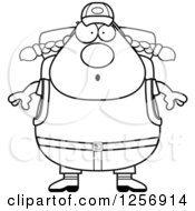 Clipart Of A Black And White Surprised Chubby Hiker Woman With Camping Gear Royalty Free Vector Illustration