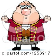 Clipart Of A Careless Shrugging Chubby Benjamin Franklin Royalty Free Vector Illustration