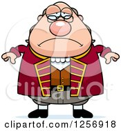 Clipart Of A Sad Depressed Chubby Benjamin Franklin Royalty Free Vector Illustration by Cory Thoman