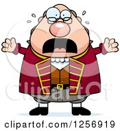 Clipart Of A Scared Screaming Chubby Benjamin Franklin Royalty Free Vector Illustration by Cory Thoman