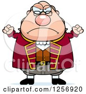 Clipart Of A Mad Chubby Benjamin Franklin Waving His Fists Royalty Free Vector Illustration by Cory Thoman