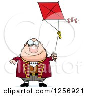 Clipart Of A Chubby Benjamin Franklin Flying A Kite Royalty Free Vector Illustration by Cory Thoman