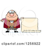 Clipart Of A Chubby Benjamin Franklin With A Scroll Royalty Free Vector Illustration by Cory Thoman