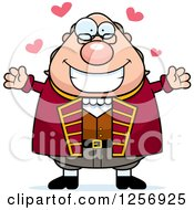 Clipart Of A Chubby Benjamin Franklin With Open Arms And Hearts Royalty Free Vector Illustration by Cory Thoman