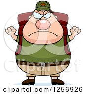 Clipart Of A Mad Chubby Caucasian Hiker Man With Camping Gear Waving His Fists Royalty Free Vector Illustration